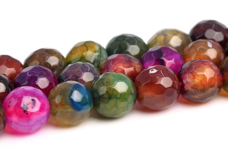 100539-395 6MM Multicolor Agate Beads Grade A Natural Gemstone Full Strand Micro Faceted Round Loose Beads 14.5 BULK LOT 1,3,5