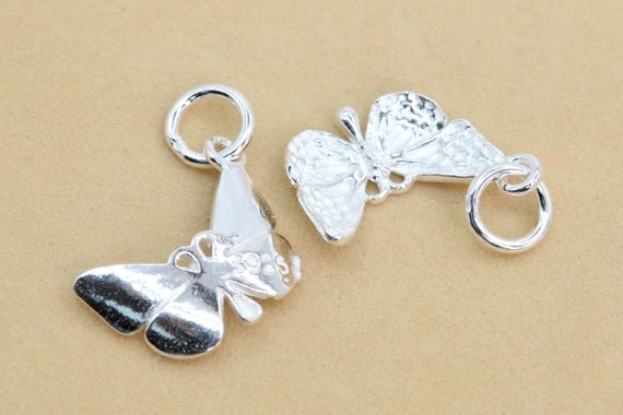 62140 15x10MM Sterling Silver Butterfly Charm 1 Pcs