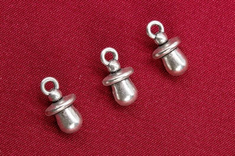 65896-3353 13x7x2MM Pacifier Charm Antique Sliver Tone Zinc Metal Alloy Charm 10 Pcs Bulk Lot Options