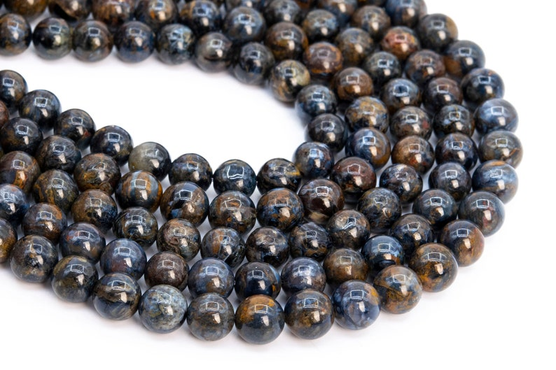 113533h-3717 7MM Stormy Ocean Blue Pietersite Beads Yellow Red Mix Grade AAA Genuine Natural Half Strand Round Beads 7 Bulk Lot Options