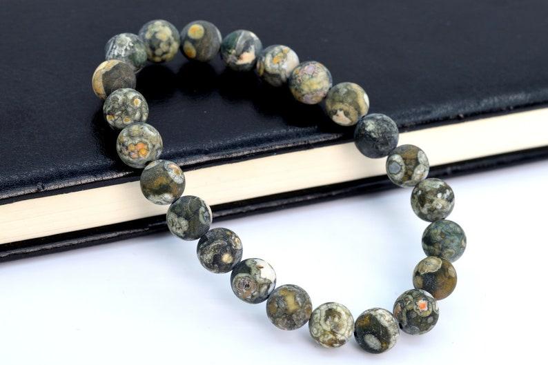 106760h-070 8MM Matte Rainforest Rhyolite Beads Bracelet Grade AAA Genuine Natural Round Gemstone 7 BULK LOT 1,3,5,10 and 50