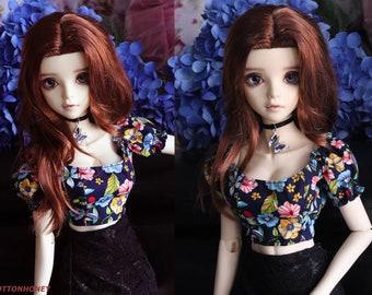 SD,DD Tori mini top (Dark blue floral)