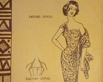 1950s Style Hawaiian Polynesian Halter Sarong Tiki Wiggle Dress Custom Made in Your Size From a Vintage Pattern