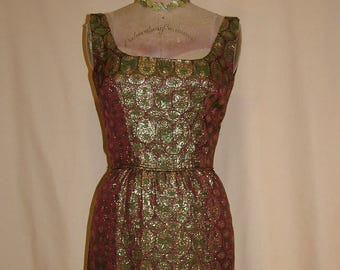 Vintage 1950s Brown Olive Green and Metallic Gold Jacquard Wiggle Dress size Small