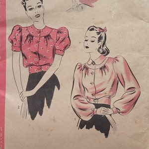 1940s Style Button Up Puff Sleeve Blouse Custom Made in Your Size From a Vintage Pattern