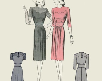 162cb90c2f0d 1940s Style Scalloped Shaped Yoke Dress with Fitted Waist and Gathered  Front Skirt Custom Made in Your Size From a Vintage Pattern