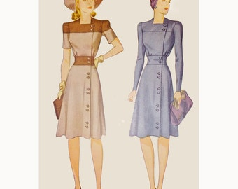 1940s Style Color Blocked Dress with Asymmetricale Buttons Custom Made in Your Size From a Vintage Pattern