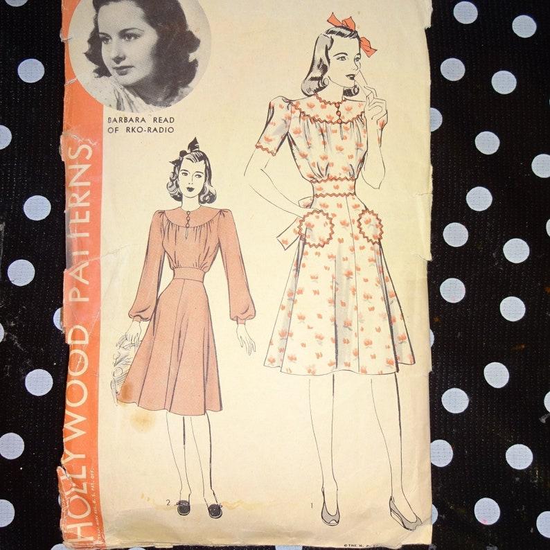 c4e3da7ef8c4 1940s Gathered Bodice Puff Sleeve Dress with Full Skirt Custom | Etsy