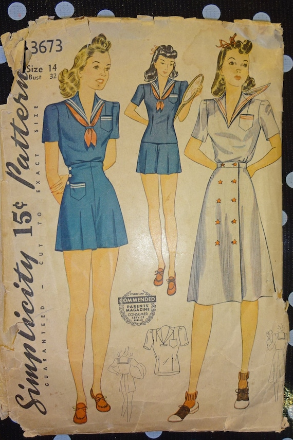 1940s Style 3pc Nautical Playsuit Sailor Collar Blouse Shorts and Skirt Made from Vintage Pattern Custom Made in Your Size