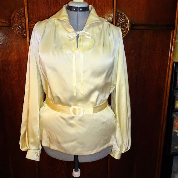 Vintage & Retro Shirts, Halter Tops, Blouses 1930s Style Super Full Bishop Sleeve Blouse with Bow Collar Custom Made in Your Size From a Vintage Pattern $130.00 AT vintagedancer.com