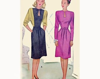 1940s Style Keyhole Neck Bat Wing Sleeves Color Blocked Dress Custom Made in Your Size From a Vintage Pattern