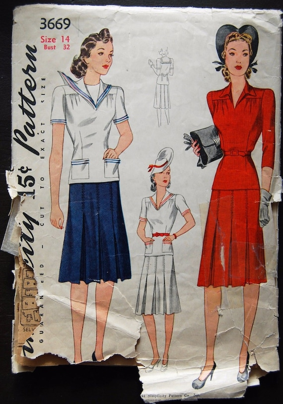 1940s Style Nautical Sailor Collar 2pc Blouse with Pleated Skirt Custom Made in Your Size From Vintage Pattern