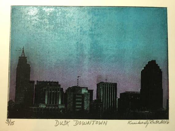 waterless lithography Dusk Downtown