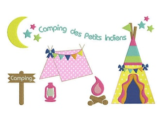 Instant download Camping Tent tepee embroidery design machine.