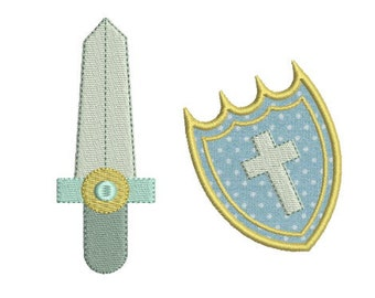 Embroidery design machine applique Knight sword and shield instant download