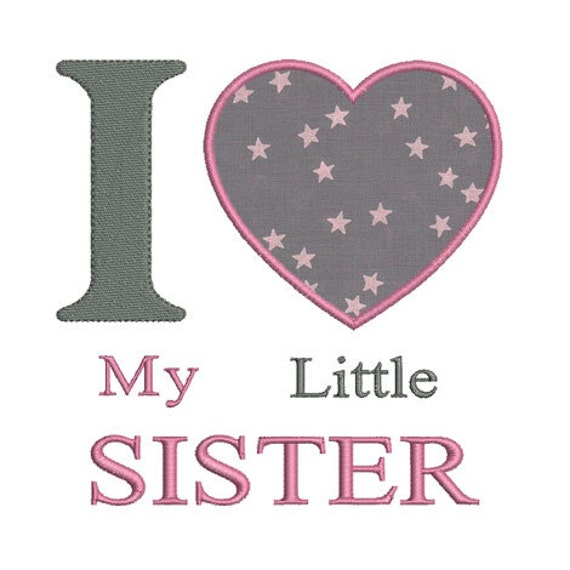 Instant Download I Love My Little Sister Heart Embroidery Etsy