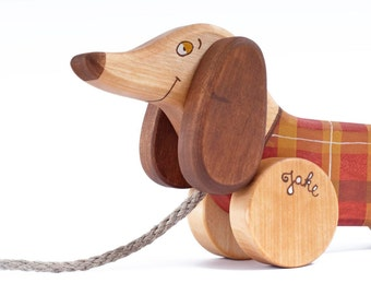 Personalized Wooden Toy Red Dog eco-friendly pull along kids toy