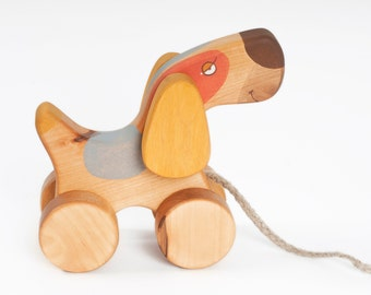 Wooden Toys, Toddler Toys, 1st Birthday Gift, Handmade Wood Toys, Pull Dog Toy, Wood Toy Dog, Personalized Pull Toy,