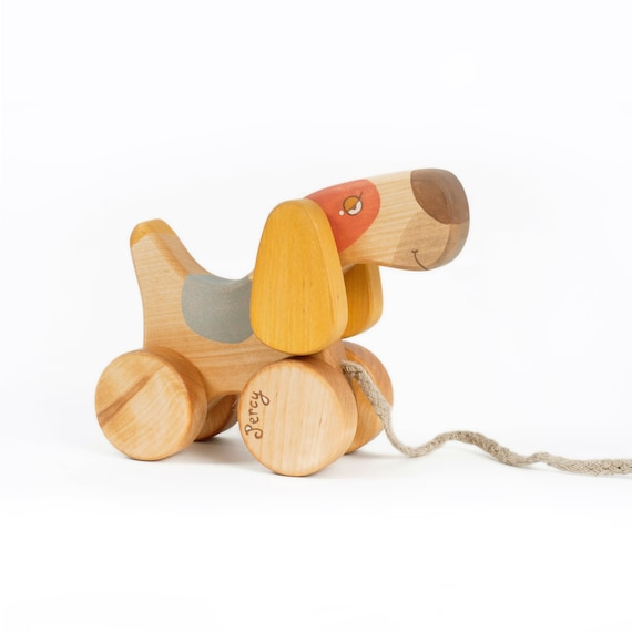 Personalized Pull Toy Dog Heirloom Toys Natural Wood Toys Etsy