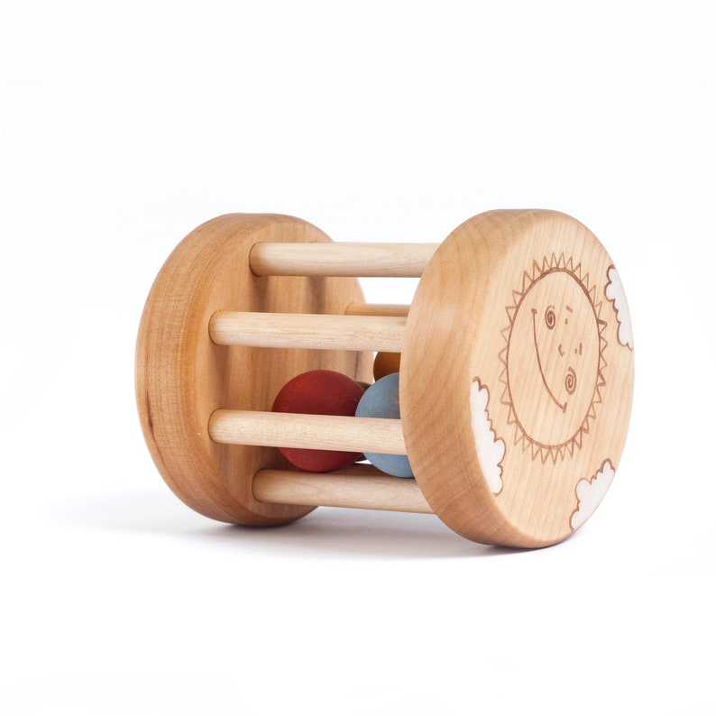 Baby Rattle Organic Baby Toys 6 months Wooden Rattle Toy image 0