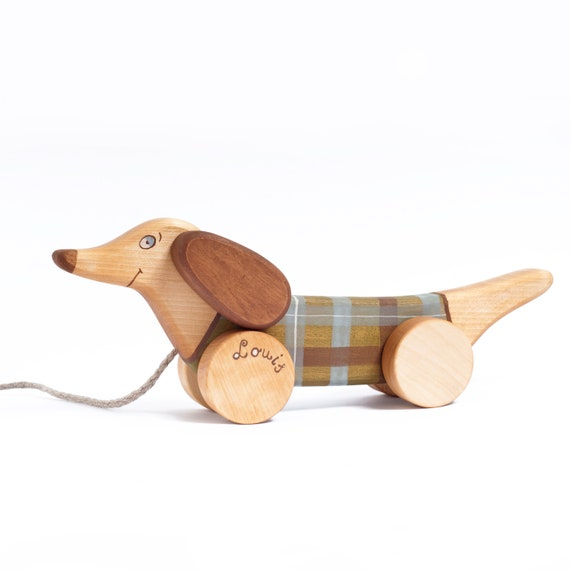 Wooden Dog On Wheels Pull Toy Wooden Animal Toy Eco Friendly Toy First Birthday gift Waldorf toys Toy for kids Children/'s story Baby Cartoon