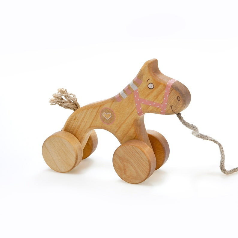 Wooden Horse Toy Pull Toys For 1 Year Old Pink Toy For Toddler Girl Old Fashioned Toys