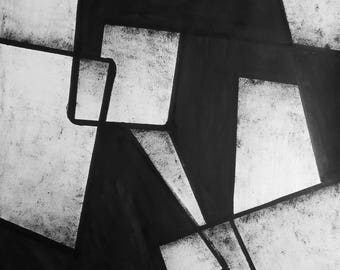 """A2 Original Hand Painted Minimal Abstract Black and White Ink Wash Painting 16.5x23.4 """"Untitled 2097"""""""