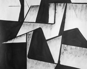 """A2 Original Modern Abstract Black and White Ink Wash Painting 16.5x23.4 """"Untitled 2051"""""""