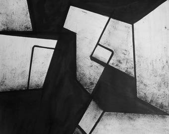 """A2 Original Hand Painted Minimal Abstract Black and White Ink Wash Painting 16.5x23.4 """"Untitled 2098"""""""