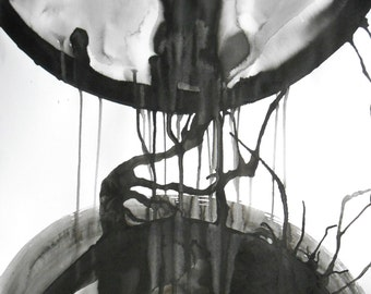 """A2 Modern Abstract OOAK Black and White Ink Wash Painting 16.5x23.4 """" Soul Quakes 413"""""""