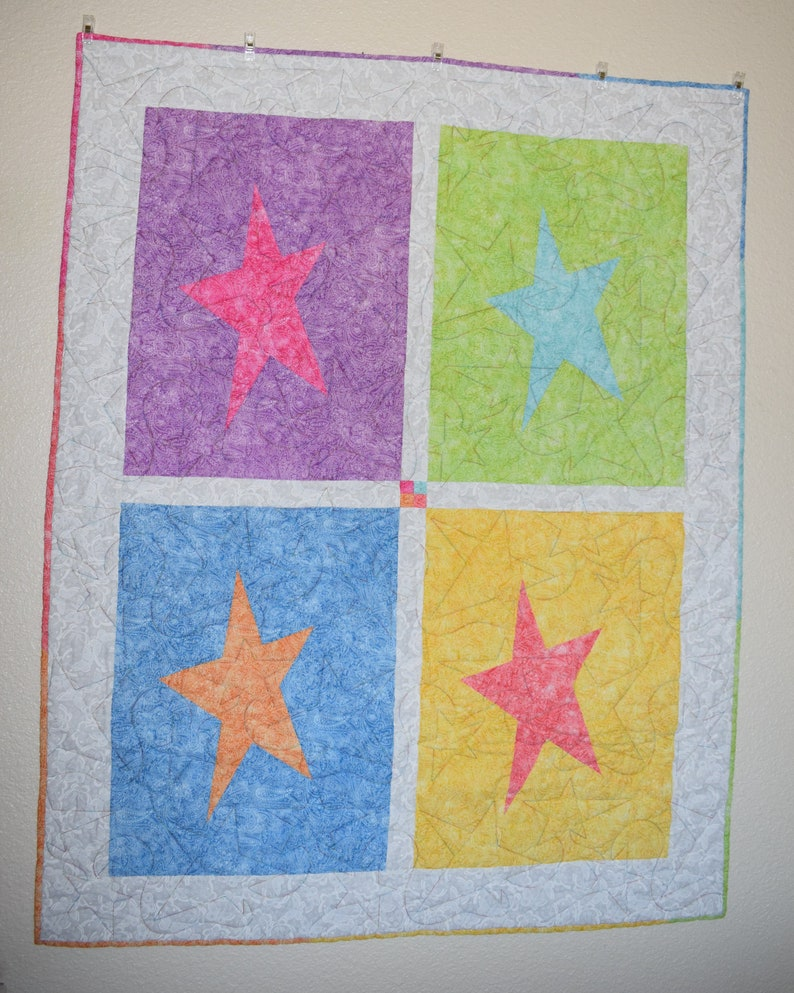 Multi Color Star Quilt/Blanket  Baby  Toddler  Child  Warm image 0