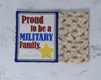 Proud to be a Military Family, Gold Star Family, Mug Rug, Large coaster, Snack mat, kitchen decor, Military spouse mini quilt
