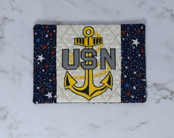 Navy Chief Mug Rug, Large coaster, Snack mat, kitchen decor, housewarming gift, Chief Season Gift, Navy spouse, military wife mini quilt