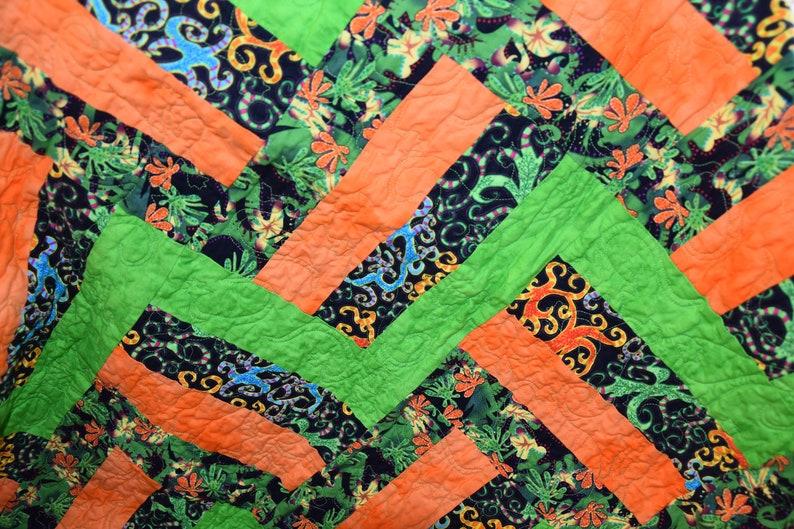 Handmade Toddler Quilt  Black Green and Orange image 0