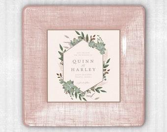 Blush Wedding Invitation Custom Personalized Decoupage Tray - Unique Wedding Gift Idea - Gift For Bride - Wedding Invitation Keepsake