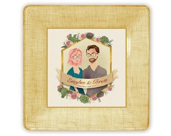 wedding couple illustration personalized custom invitation plate couples keepsake memento unique wedding gift idea decoupage