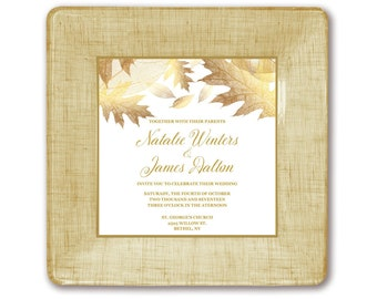 Personalized autumn themed wedding gift invitation plate couples keepsake memento unique gift idea for bride and groom their favorite gift