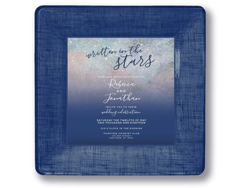 Stars wedding invitation plate - unique personalized custom wedding gift keepsake for couples anniversary gift idea from best friend