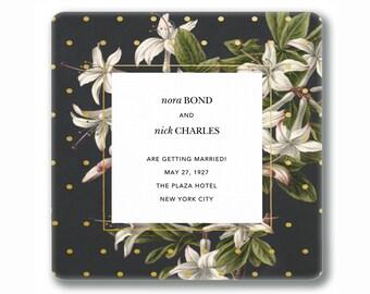 Decoupage heirloom wedding tray - personalized custom memento gift idea - using wedding invitation envelope liner - unique couples keepsake