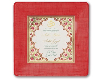 Indian Hindu Wedding Invitation Plate Personalized Heirloom Memento Gift from Parents Keepsake for couples Anniversary Gift Idea