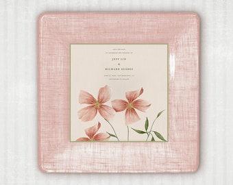 Pastel Pink Wedding Invitation Custom Personalized Decoupage Tray Invitation Keepsake Plate  Unique Wedding Gift Idea Gift For Bride