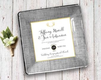 Custom wedding invitation keepsake decoupage plate unique holiday wedding gift idea for couples christmas gift 1st anniversary gift