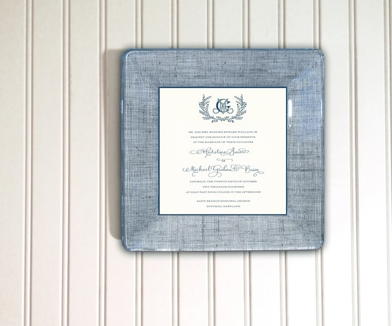 Vintage Wedding Invitation Keepsake Monogram Gift Idea Etsy