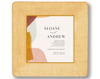 Wedding Invitation abstract art decoupage innvitation plate - personalized - couples keepsake - anniversary gift idea - unique wedding gift