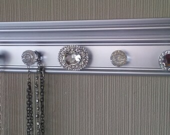 YOU CHOOSE 5,7 or 9 KNOBS Silver Jewelry organizer. This wall necklace hanger has lots of bling Beautiful jewelry storage & decor