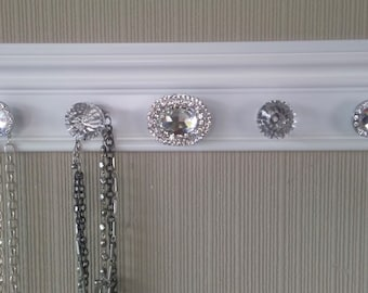U CHOOSE 5,7 or 9 KNOBS For this white jewelry organizer.Also add hooks option for even more beautiful jewelry storage.Wall necklace holder
