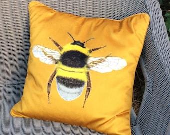 Gold velvet Bumblebee cushion cover, Velvet and tweed Bee cushion cover, Luxury Mustard velvet tweed Bee homeware, velvet Housewarming gift,