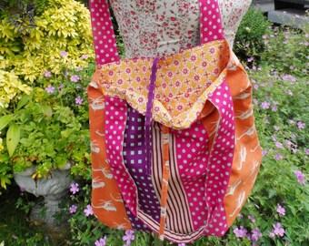 Festival bag, colourful fabric shoulder bag, holiday travel bag, messenger bag, Shoulder bag, helicopter print bag, polka dot bag,