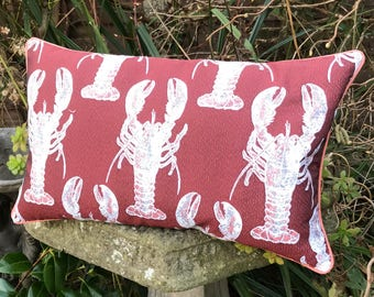 Lobster cushion Orange and blue lobster pillow Crustacean   Etsy