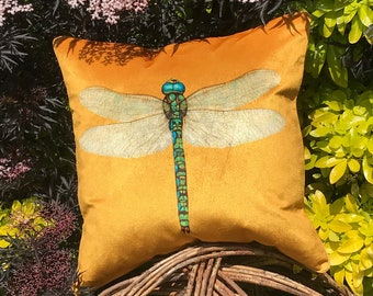Luxury Mustard Velvet Dragonfly Cushion Cover, Arts and Crafts theme Damselfly square cover, Tweed and velvet Nature piped pillow Cover